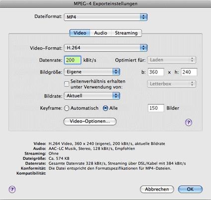 MPEG-4 Exporteinstellungen