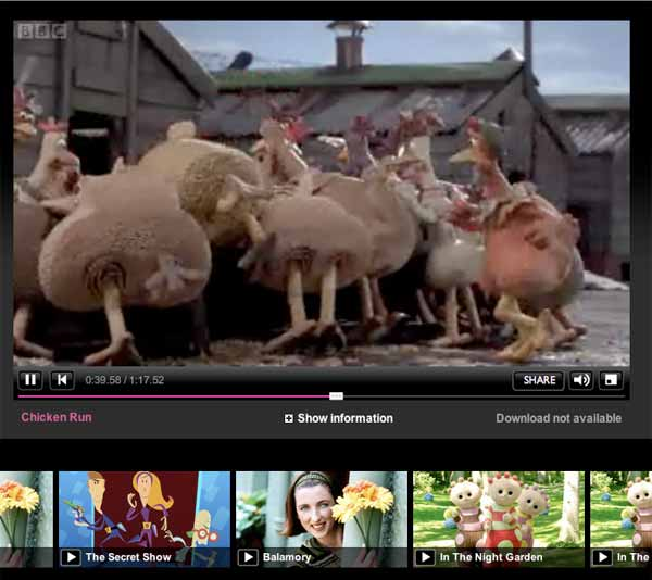 BBC iPlayer - Player und Thumbnails