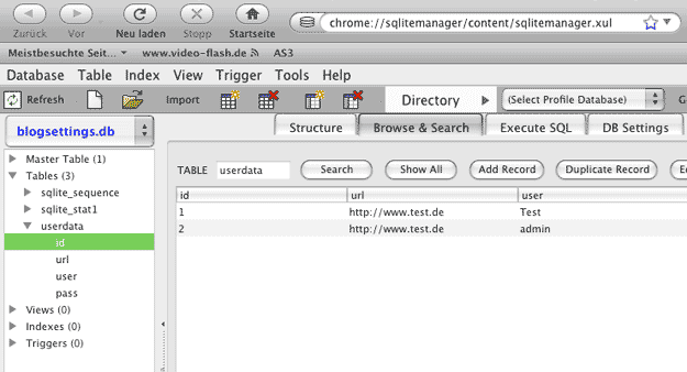 SQLite Firefox Plugin
