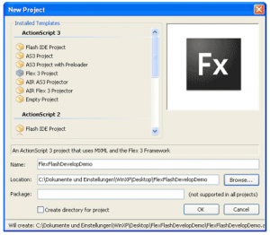 FlashDevelop: Neues Flex-Projekt anlegen